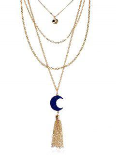 Natural Stone Moon Star Fringed Layered Necklace - Ink Blue