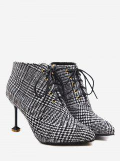 Stiletto Heel Houndstooth Tweed Boots - Black 39