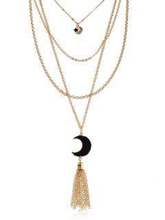 Collar Con Capas De Flecos De Lunares De Piedra Natural - Negro