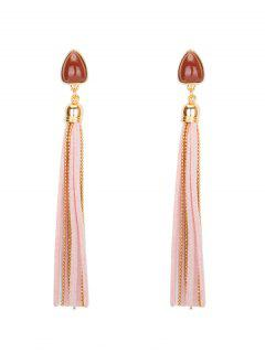 Resin Teardrop Tassel Fringed Chain Earrings - Light Pink