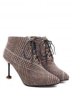 Stiletto Heel Houndstooth Tweed Boots - Brown 39