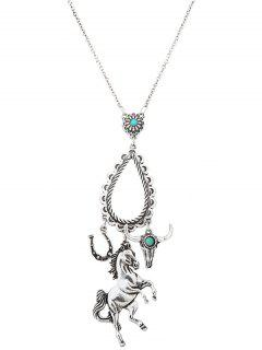 Faux Turquoise Floral Horse Teardrop Sweater Chain - Silver