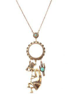 Faux Turquoise Floral Cactus Sweater Chain - Golden
