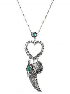 Faux Turquoise Wing Indian Heart Sweater Chain - Silver