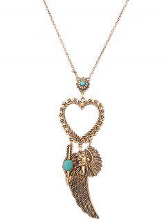 Faux Turquoise Wing Indian Heart Sweater Chain - Golden