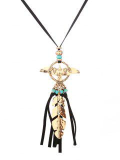Faux Turquoise Fly Eagle Tassel Leaf Sweater Chain - Golden