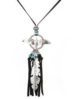 Faux Turquoise Fly Eagle Tassel Leaf Sweater Chain - Silver