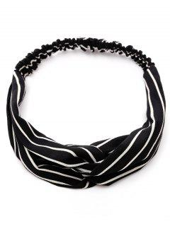 Striped Two Tone Elastic Hair Band - Black