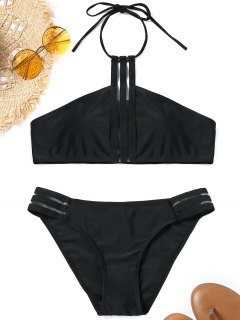 Halter Padded Back Tied Bikini Set - Black M