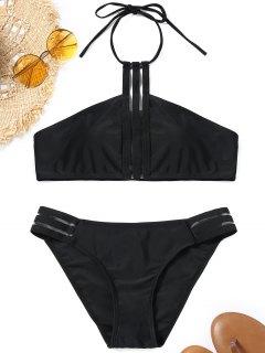 Halter Padded Back Tied Bikini Set - Black S
