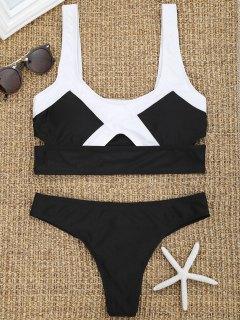 Two Tone Cut Out Thong Bikini Set - Black S