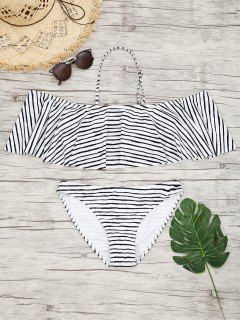 Ruffles Overlay Striped Bikini - Stripe S