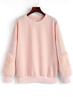 Faux Fur Sweatshirt - Light Pink S