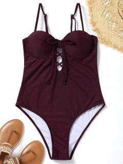 High Cut Lace Up Underwire Swimwear - Deep Red S