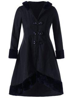 Plus Size Lace Up Dip Hem Coat - Black Xl