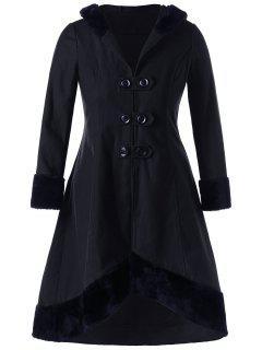 Plus Size Lace Up Dip Hem Coat - Black 2xl