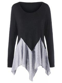 Plus Size Two Tone Long Sleeve Handkerchief T-shirt - Black And Grey 3xl