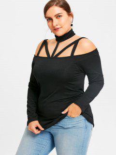 Plus Size Cut Out Long Sleeve T-shirt - Black 3xl
