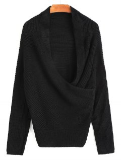 Plunging Neck Ribbed Wrap Sweater - Black