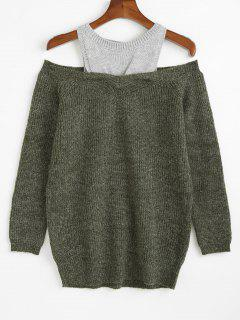 Cold Shoulder Two Tone Tunic Sweater - Army Green