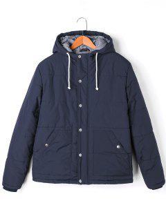 Manteau Rembourré Droit à Capuche Avec Cordon De Serrage - Bleu M