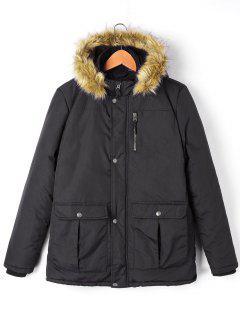 Manteau à Capuche Avec Col En Fausse Fourrure Fermeture Éclair Et Poches - Noir 2xl