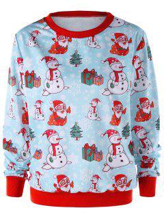 Christmas Snowman Crew Neck Sweatshirt - Light Blue L