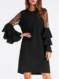 Mesh Insert Bell Sleeve Mini Shift Dress - Black Xl