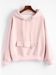 Flap Pocket Layered Drawstring Hoodie - Pink L