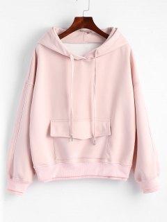 Flap Pocket Layered Drawstring Hoodie - Pink Xl