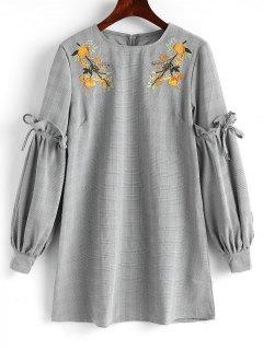 Robe Courte à Carreaux à Broderie Florale - Carré S
