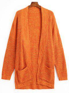 Pockets Open Front Chunky Cardigan - Orange