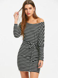 Skew Collar Striped Mini Dress - Stripe L