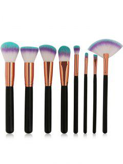 Three Tones Bristles Makeup Brush Set 8Pcs - Black