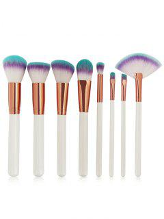 Three Tones Bristles Makeup Brush Set 8Pcs - White