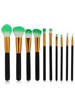 Two Tones Bristles Makeup Brush Set 10Pcs - Black