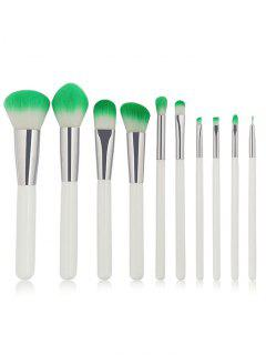 Two Tones Bristles Makeup Brush Set 10Pcs - White