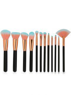 12 Piezas Juego Cepillos De Maquillaje De Cerdas De Dos Tonos   - Negro
