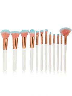 Pinceles De Maquillaje De Cerdas De Dos Tonos Set 12Pcs - Blanco