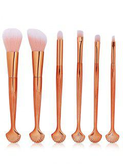 6 Pcs Seashell Makeup Brush Set - Rose Gold