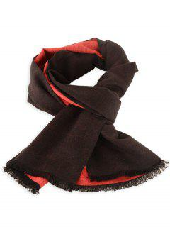 Two Tones Patch Fringed Winter Scarf - Black Red