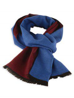 Two Tones Patch Fringed Winter Scarf - Royalblue+wine Red C3