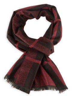 Plaid Pattern Fringed Winter Scarf - Wine Red