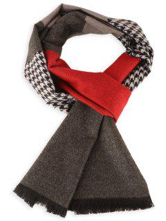 Houndstooth Pattern Fringed Winter Scarf - Claret