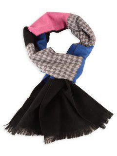 Houndstooth Pattern Fringed Winter Scarf - Royal