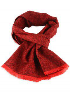 Fringed Mixcolor Knitted Scarf - Claret