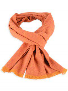 Fringed Mixcolor Knitted Scarf - Orange Yellow