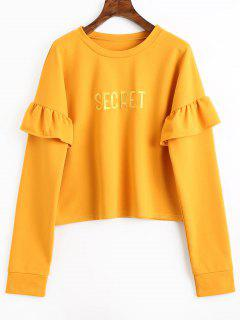 Letter Embroidered Patch Ruffles Sweatshirt - Ginger M