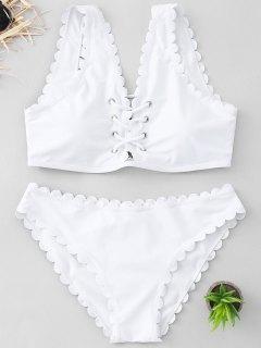 Strappy überbackene Bikini Set - Weiß Xl