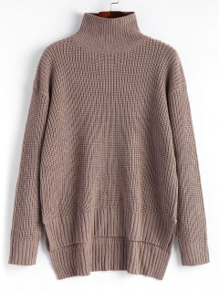 High Low Pullover Turtleneck Sweater - Greyish Brown